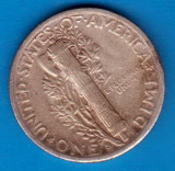 (A262) MONEDA DIN ARGINT SUA - ONE DIME 1944, LIT. S, MERCURY, NECURATATA, America de Nord