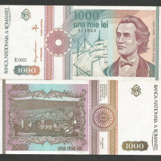 ROMANIA 1000 1.000 LEI 1993 [1] a UNC, aproape necirculata - Bancnota romaneasca
