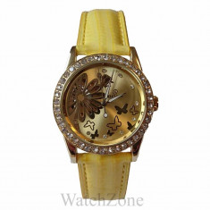 Ceas Dama Automatic Goer Butterfly Yellow