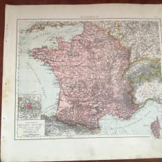 Veche harta inceput de secol XX Franta / Frankreich !