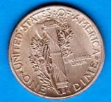 (A226) MONEDA DIN ARGINT SUA - ONE DIME 1944, FARA LITERA, MERCURY, America de Nord