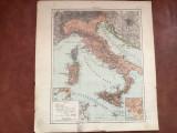 Veche harta inceput de secol XX Italia / Italien !