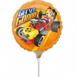 Balon mini folie Mickey Mouse - 23 cm, umflat + bat si rozeta, Amscan 36229