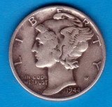 (A272) MONEDA DIN ARGINT SUA - ONE DIME 1944, FARA LITERA, MERCURY, NECURATATA, America de Nord