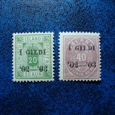 LOT TIMBRE VECHI ISLANDA 1902/03 CU SUPRATIPAR MNH, Nestampilat