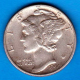 (A236) MONEDA DIN ARGINT SUA - ONE DIME 1944, FARA LITERA, MERCURY, America de Nord