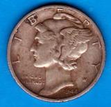 (A243) MONEDA DIN ARGINT SUA - ONE DIME 1944, LIT. S, MERCURY, NECURATATA, America de Nord