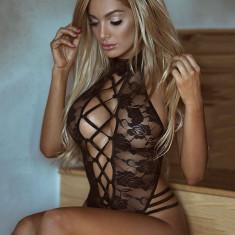 Lenjerie Lady Lust Sexy Costum Babydoll Teddy Dantela Body Bentita Kitty Lace, Negru, M