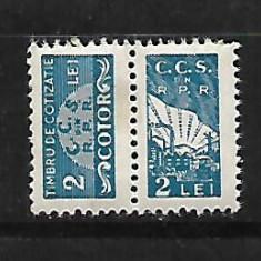 Timbru fiscal-Timbru de cotizatie CCS cu cotor 2 lei-60 - Timbre Romania, Nestampilat