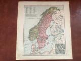 Veche harta inceput de secol XX Schweden und Norwegen / Suedia si Norvegia !