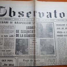 Ziarul observator 9 martie 1990-scoala de securitate de la baneasa