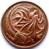 AUSTRALIA , 2 CENTS 1966 , DRAGONUL GULERAT SI REGINA ELISABETA II, Australia si Oceania, Cupru (arama)