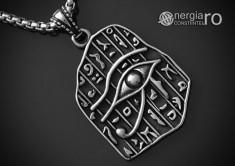 Pandantiv Ochiul RA / Horus, Amuletă, Talisman, Medalion, INOX foto