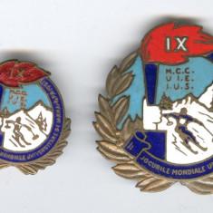 1951 JOCURILE MONDIALE UNIVERSITARE DE IARNA - SCHI RPR, Lot x 2 Insigne sport