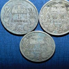 LOT 3 MONEDE ARGINT UNGARIA 1 KORONA 1984, 1895, 1896, Europa