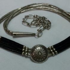 NAVAJO Colier argint AMERINDIAN TRIBAL splendid SUPERB de efect VINTAGE Sterling - Bijuterie veche