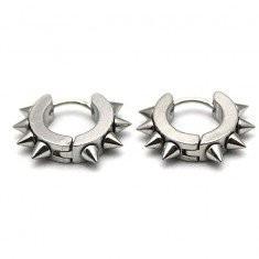 Cercei metal baieti barbati Hoop Spike inox - 1 pereche - Cercei inox