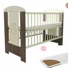 Patut bebe Klups Safari Sweet Bear + Saltea 10Cm - Patut lemn pentru bebelusi