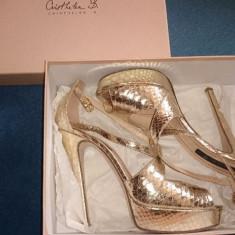 Sandale piele naturala Musette Cristhelen B. elegante, 40 - Sandale dama, Culoare: Auriu