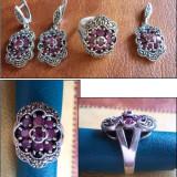 Set argint cu marcasite si rubin - INEL + CERCEI + MEDALION (1)