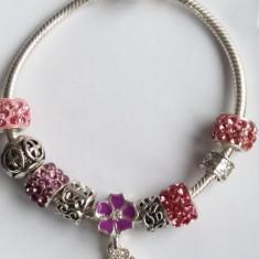 Bratara model Pandora cu 9 talismane flori roz mov - Bratara argint