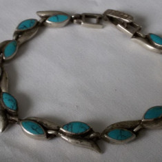 BRATARA argint cu TURCOAZ superba VECHE tip sarpe SPLENDIDA vintage ELEGANTA