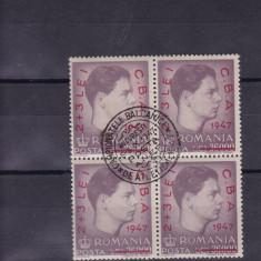 ROMANIA 1947 LP 220 BLOC DE 4 TIMBRE STAMPILATE - Timbre Romania