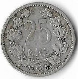 Moneda 25 ore 1904 - Norvegia, 2,42 g argint 0,6000, cotatii ridicate!!!, Europa