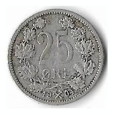 Moneda 25 ore 1904 - Norvegia, 2, 42 g argint 0, 6000, cotatii ridicate!!!, Europa