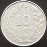 Moneda 10 LIRE - TURCIA, anul 1986  *cod 404   ALLU, Europa, Aluminiu