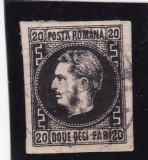 ROMANIA 1867 LP 20c CAROL I FAVORITI 20 PARALE  NEGRU/ROZ  H.SUBTIRE STAMPILAT