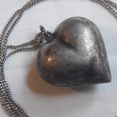 rar MEDALION argint CHEAMA INGERII cu SUNET masiv INIMIOARA vechi pe Lant argint