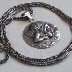 Medalion argint INGER superb VECHI rotund MARE rar MINUNAT pe Lant argint MASIV