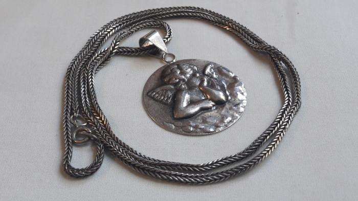 MEDALION argint INGER HERUVIM superb VECHI rotund MARE pe Lant argint MASIV