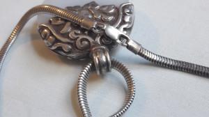 Medalion argint FRANTA secol 19 MASIV opulent ART NOUVEAU superb pe Lant argint
