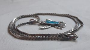 Medalion argint AZTEC cu TURCOAZ superb MEXIC splendid VECHI rar pe Lant argint