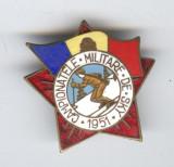 1951 CAMPIONATELE MILITARE DE SKY Insigna RPR Sport de Iarna email, SUPERBA RARA