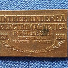 Insigna Semicentenarul telefoniei romanesti - Electromagnetica - Telecomunicatii