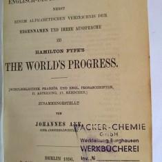 Dictionar englez german, stampilat Entwertet, vechi, Berlin 1896