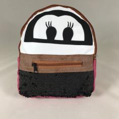 Rucsac negru cu roz cu paiete+CADOU