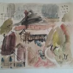 TEHNICA MIXTA 6/6 SEMNATA LAURENTIU VASILESCU 1959, Istorice, Acuarela, Realism