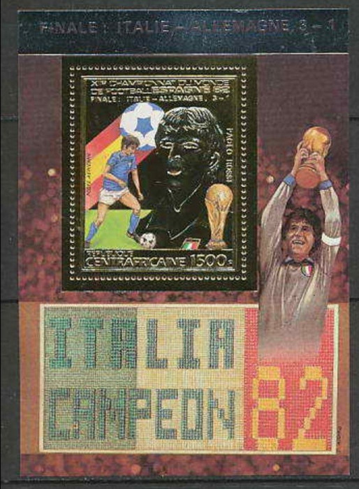 CENTRAL AFRICA 1982 FOTBAL CUPA MONDIALA FOITA DE AUR - RAR
