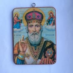 Icoana lemn litografie Sfant Nicolae - Sfant Stelian iconita de buzunar