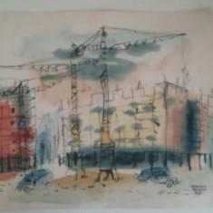 TEHNICA MIXTA 5/6 SEMNATA LAURENTIU VASILESCU 1959, Istorice, Acuarela, Realism