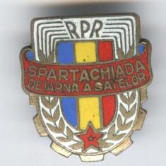 1950 RPR - SPARTACHIADA DE IARNA A SATELOR - SCHI Concurs Insigna veche SUPERBA