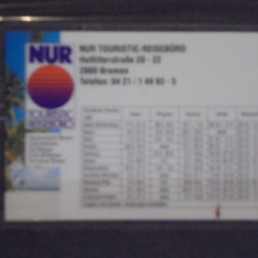CARD PLASTIFIAT RECLAMA ZBORURI- NUR TOURITIC REISEBURG- BREMEN, GERMANIA. - Cartela telefonica straina