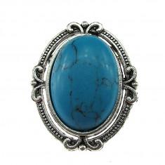 Brosa ovala argintiu antic cu haolit albastru natural