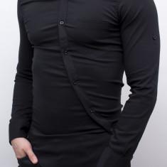 Camasa lunga - camasa slim fit camasa neagra camasa barbat cod 113, L, M, XL, Maneca lunga, Negru