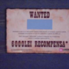 CARD FIDELITATE WANTED, 600 LEI RECOMPENSA- LUKOIL - PE VERSO CALENDAR 2013. - Cartela telefonica romaneasca