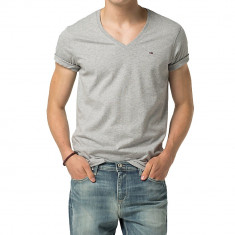 Tricou Tommy Hilfiger Denim V-nk G.-XXL - Tricou barbati Tommy Hilfiger, Culoare: Gri